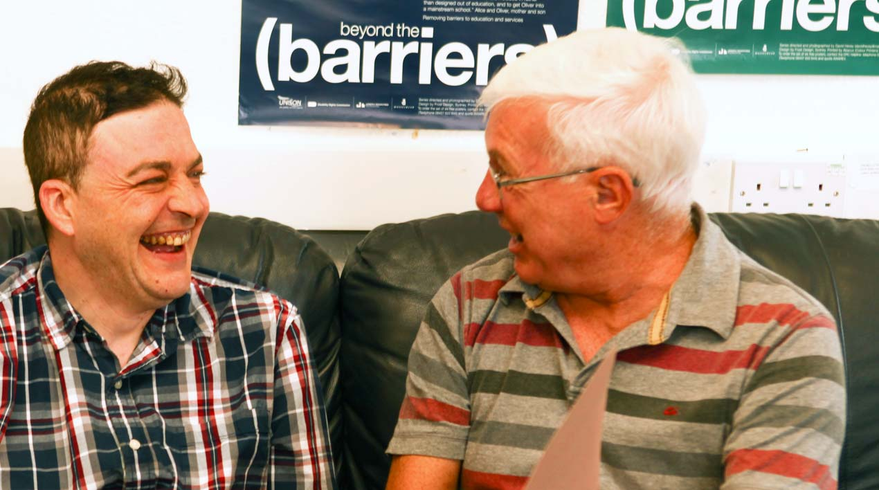 Sam and Adam having a cuppa at Dunfermline Advocacy